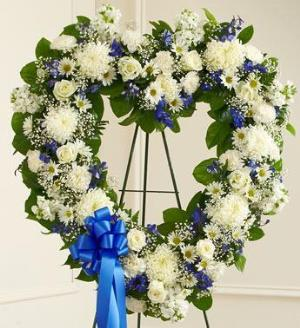 Blue and white open heart funeral flowers sympathy - Valley memorial gardens mission tx ...