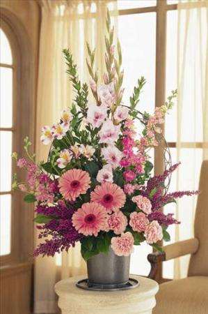 Pink funeral basket funeral flowers sympathy baskets - Valley memorial gardens mission tx ...