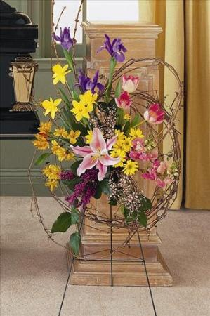 Easel spray with grapevine funeral flowers sympathy - Valley memorial gardens mission tx ...