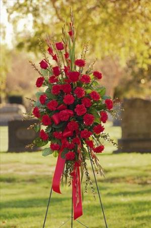 All red standing spray funeral flowers sympathy - Valley memorial gardens mission tx ...