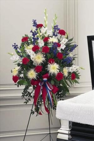 Red white blue easel spray funeral flowers sympathy - Valley memorial gardens mission tx ...