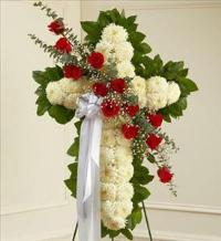 White Standing Cross with Red Rose Break by McAdams Floral, Victoria|Cuero|Goliad|Edna|Port Lavaca, Texas (TX)  Funeral Florist