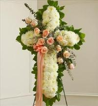 White Cross with Peach Rose Break by McAdams Floral, Victoria|Cuero|Goliad|Edna|Port Lavaca, Texas (TX)  Funeral Florist