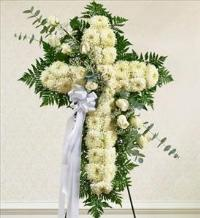 White Cross with White Rose Break by McAdams Floral, Victoria|Cuero|Goliad|Edna|Port Lavaca, Texas (TX)  Funeral Florist