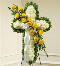 White Cross with Yellow Rose Break by McAdams Floral, Victoria|Cuero|Goliad|Edna|Port Lavaca, Texas (TX)  Funeral Florist