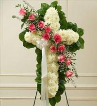 White Cross with Pink Rose Break by McAdams Floral, Victoria|Cuero|Goliad|Edna|Port Lavaca, Texas (TX)  Funeral Florist