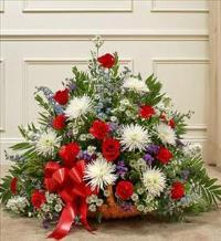 Red, White, and Blue Mixed Fireside Basket by McAdams Floral, Victoria|Cuero|Goliad|Edna|Port Lavaca, Texas (TX)  Funeral Florist