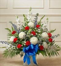 Red White And Blue Sympathy Floor Basket by McAdams Floral, Victoria|Cuero|Goliad|Edna|Port Lavaca, Texas (TX)  Funeral Florist