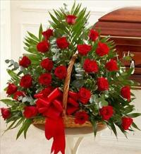 Red Rose Fireside Basket by McAdams Floral, Victoria|Cuero|Goliad|Edna|Port Lavaca, Texas (TX)  Funeral Florist