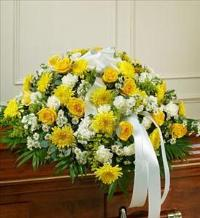 Yellow and White Half Casket Cover by McAdams Floral, Victoria|Cuero|Goliad|Edna|Port Lavaca, Texas (TX)  Funeral Florist