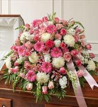 Pink and White Mixed Half Casket Cover by McAdams Floral, Victoria|Cuero|Goliad|Edna|Port Lavaca, Texas (TX)  Funeral Florist