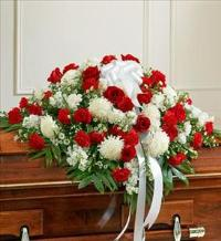 Red and White Half Casket Cover by McAdams Floral, Victoria|Cuero|Goliad|Edna|Port Lavaca, Texas (TX)  Funeral Florist