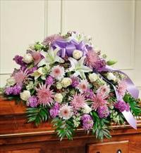 Lavender and White Half Casket Cover by McAdams Floral, Victoria|Cuero|Goliad|Edna|Port Lavaca, Texas (TX)  Funeral Florist