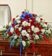 Red White and Blue Half Casket Cover by McAdams Floral, Victoria|Cuero|Goliad|Edna|Port Lavaca, Texas (TX)  Funeral Florist