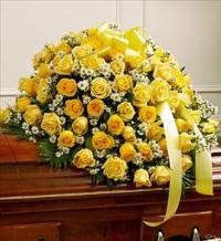 Yellow and White Rose Half Casket Cover by McAdams Floral, Victoria|Cuero|Goliad|Edna|Port Lavaca, Texas (TX)  Funeral Florist