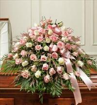 Pink And White Half Casket Cover by McAdams Floral, Victoria|Cuero|Goliad|Edna|Port Lavaca, Texas (TX)  Funeral Florist