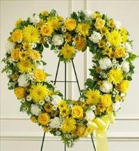 Yellow and White Standing Open Heart by McAdams Floral, Victoria|Cuero|Goliad|Edna|Port Lavaca, Texas (TX)  Funeral Florist