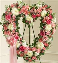 Pink and White Open Heart by McAdams Floral, Victoria|Cuero|Goliad|Edna|Port Lavaca, Texas (TX)  Funeral Florist
