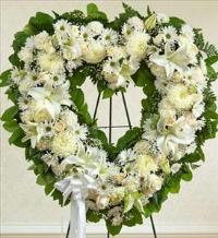 White Standing Open Heart by McAdams Floral, Victoria|Cuero|Goliad|Edna|Port Lavaca, Texas (TX)  Funeral Florist