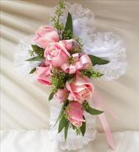 Pink Satin Cross Pillow by McAdams Floral, Victoria|Cuero|Goliad|Edna|Port Lavaca, Texas (TX)  Funeral Florist