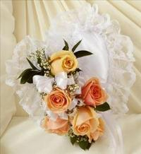 Peach and White Satin Heart Casket Pillow by McAdams Floral, Victoria|Cuero|Goliad|Edna|Port Lavaca, Texas (TX)  Funeral Florist