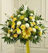 Yellow and White Sympathy Standing Basket by McAdams Floral, Victoria|Cuero|Goliad|Edna|Port Lavaca, Texas (TX)  Funeral Florist