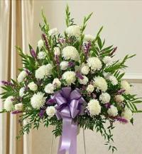 Lavender and White Sympathy Standing Basket by McAdams Floral, Victoria|Cuero|Goliad|Edna|Port Lavaca, Texas (TX)  Funeral Florist