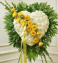 White Heart with Yellow Rose Break by McAdams Floral, Victoria|Cuero|Goliad|Edna|Port Lavaca, Texas (TX)  Funeral Florist