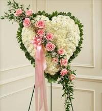 White Heart with Pink Rose Break by McAdams Floral, Victoria|Cuero|Goliad|Edna|Port Lavaca, Texas (TX)  Funeral Florist