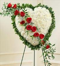White Heart with Red Rose Break by McAdams Floral, Victoria|Cuero|Goliad|Edna|Port Lavaca, Texas (TX)  Funeral Florist