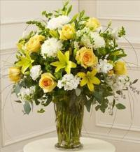 Yellow and White Large Sympathy Vase Arrangement by McAdams Floral, Victoria|Cuero|Goliad|Edna|Port Lavaca, Texas (TX)  Funeral Florist