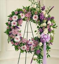 Lavender and White Standing Wreath by McAdams Floral, Victoria|Cuero|Goliad|Edna|Port Lavaca, Texas (TX)  Funeral Florist