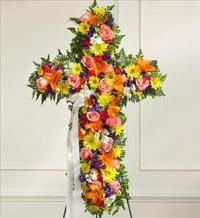 Multicolor Bright Mixed Flower Standing Cross by McAdams Floral, Victoria|Cuero|Goliad|Edna|Port Lavaca, Texas (TX)  Funeral Florist