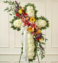 White Standing Cross with Bright Flower Break by McAdams Floral, Victoria|Cuero|Goliad|Edna|Port Lavaca, Texas (TX)  Funeral Florist