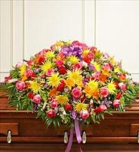 Bright Mixed Flower Full Casket Cover by McAdams Floral, Victoria|Cuero|Goliad|Edna|Port Lavaca, Texas (TX)  Funeral Florist