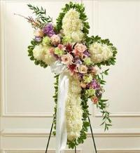White Cross with Pastel Flower Break by McAdams Floral, Victoria|Cuero|Goliad|Edna|Port Lavaca, Texas (TX)  Funeral Florist