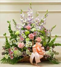 Pastel Mixed Flower Fireside Basket by McAdams Floral, Victoria|Cuero|Goliad|Edna|Port Lavaca, Texas (TX)  Funeral Florist
