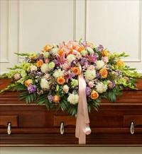 Pastel Mixed Flower Full Casket Cover by McAdams Floral, Victoria|Cuero|Goliad|Edna|Port Lavaca, Texas (TX)  Funeral Florist