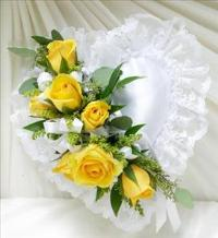 Yellow and White Satin Heart Casket Pillow by McAdams Floral, Victoria|Cuero|Goliad|Edna|Port Lavaca, Texas (TX)  Funeral Florist