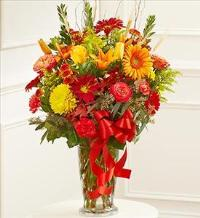 Large Sympathy Vase Arrangment in Fall Colors by McAdams Floral, Victoria|Cuero|Goliad|Edna|Port Lavaca, Texas (TX)  Funeral Florist