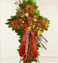 Mixed Flower Standing Cross in Fall Colors by McAdams Floral, Victoria|Cuero|Goliad|Edna|Port Lavaca, Texas (TX)  Funeral Florist