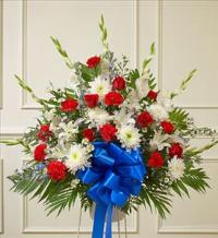 Red, White and Blue Sympathy Standing Basket by McAdams Floral, Victoria|Cuero|Goliad|Edna|Port Lavaca, Texas (TX)  Funeral Florist