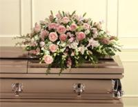 Pink Roses, Lilies, & White Dendrobium Orchid Casket Spray by McAdams Floral, Victoria|Cuero|Goliad|Edna|Port Lavaca, Texas (TX)  Funeral Florist