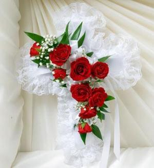 Red and White Satin Cross Casket Pillow by McAdams Floral, Victoria|Cuero|Goliad|Edna|Port Lavaca, Texas (TX)  Funeral Florist