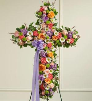 Pastel Mixed Flower Standing Cross by McAdams Floral, Victoria|Cuero|Goliad|Edna|Port Lavaca, Texas (TX)  Funeral Florist