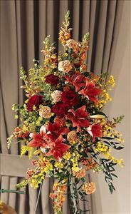 Farewell Too Soon Standing Spray by McAdams Floral, Victoria|Cuero|Goliad|Edna|Port Lavaca, Texas (TX)  Funeral Florist