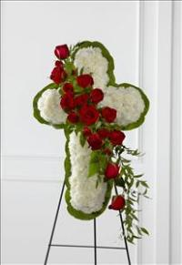 The FTD® Floral Cross Easel by McAdams Floral, Victoria|Cuero|Goliad|Edna|Port Lavaca, Texas (TX)  Funeral Florist