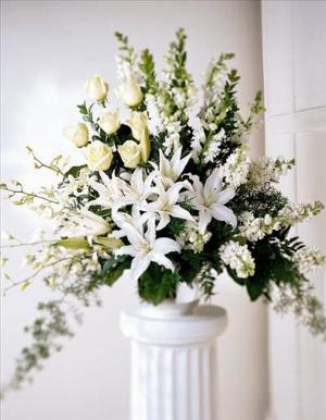 Light In Your Honor Arrangement by McAdams Floral, Victoria|Cuero|Goliad|Edna|Port Lavaca, Texas (TX)  Funeral Florist