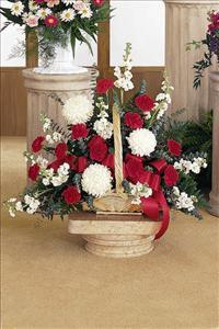 Red & White Fireside Basket by McAdams Floral, Victoria|Cuero|Goliad|Edna|Port Lavaca, Texas (TX)  Funeral Florist