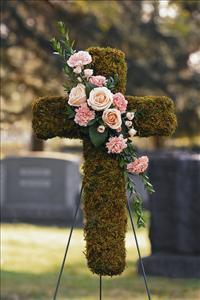 Moss Cross with Cluster by McAdams Floral, Victoria|Cuero|Goliad|Edna|Port Lavaca, Texas (TX)  Funeral Florist